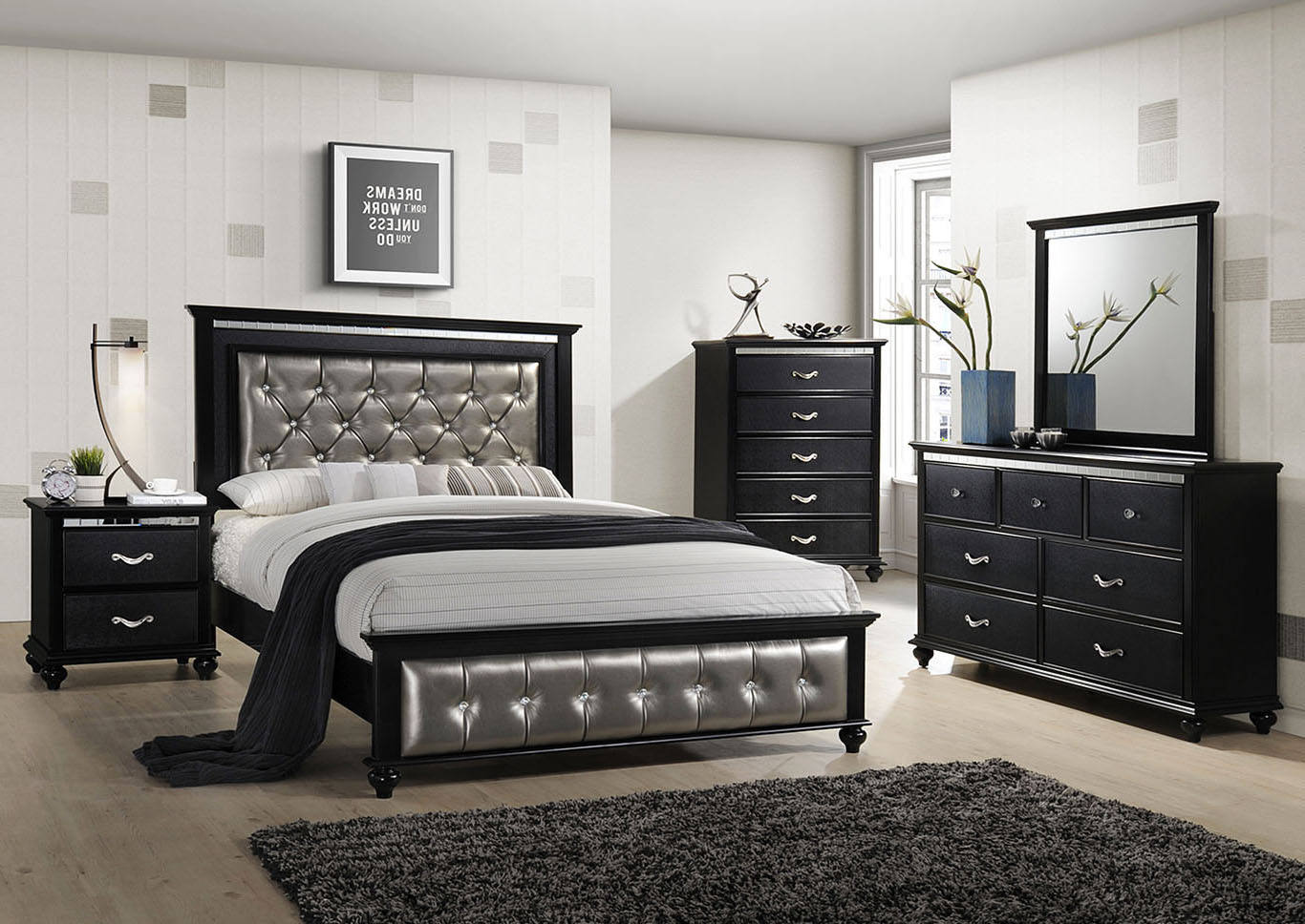 Marlins Furniture: HOLLYWOOD QUEEN BED - BLACK