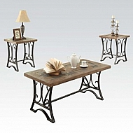 3 PACK COFFEE/END TABLE SET W/ SLATE INSERT