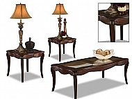 3 PACK TABLE SET- ESPRESSO FINISH W/ GLASS INSERT