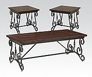 3-PACK TABLE SET- IRON/WOOD