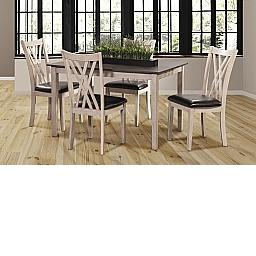 PAIGE 5 PC DINING TABLE SET-CREME/BROWN