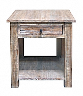 AGAVE END TABLE- GRAY WASH FINISH