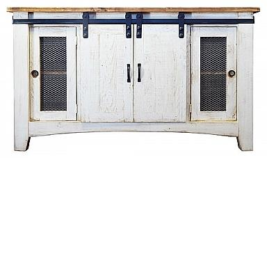 barn door tv stand weathered white marlins furniture. Black Bedroom Furniture Sets. Home Design Ideas