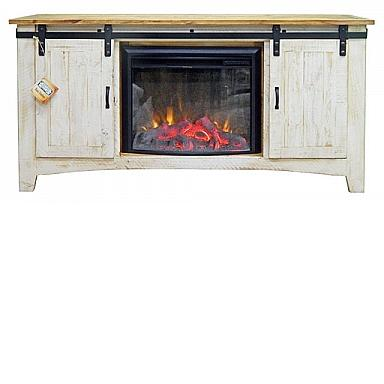 barn door tv stand weathered white w fireplace insert marlins furn. Black Bedroom Furniture Sets. Home Design Ideas