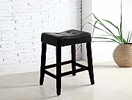 "24"" BLACK VINYL SADDLE STOOLS- BOX OF 2"