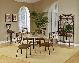 BROOKSIDE 5 PIECE ROUND DINING SET WITH OVAL BACK CHAIR