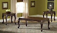 3 PACK OCCASIONAL TABLES- CARVED CHERRY