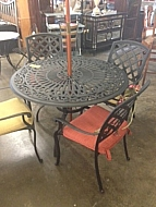 "CAST ALUMINUM DINING TABLE 48"" WITH 4 STRAIGHT CHAIRS  BROWN SPICE"