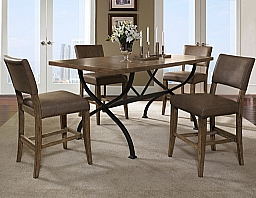 CHARLESTON 5 PIECE COUNTER HEIGHT RECTANGULAR DINING SET WITH PARSON STOOLS