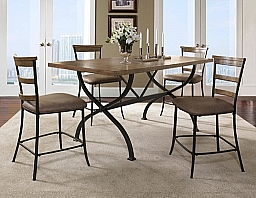 CHARLESTON 5-PIECE COUNTER HEIGHT RECTANGULAR WOOD DINING SET WITH LADDER BACK STOOL