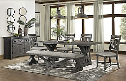 VINTAGE TRESTLE TABLE, 4 SIDE CHAIRS, & BENCH