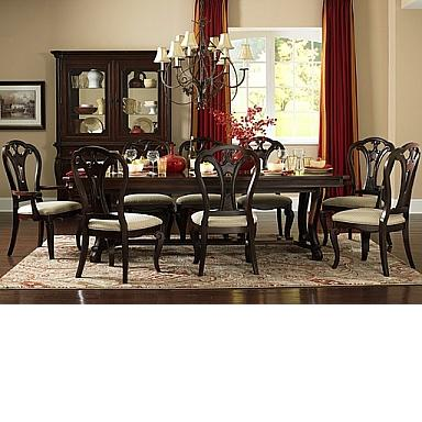 GRANDOVER NINE PIECE DINING SET WITH LARGE EXTENSTION TABLE SIX DINING  CHAIRS AND TWO ARM CHAIRS