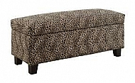 LIFT TOP STORAGE BENCH, LEOPARD FABRIC