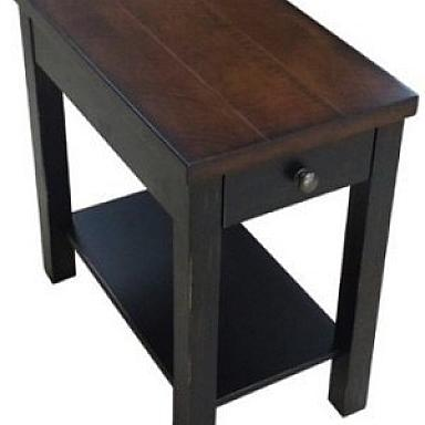 POWER CHAIRSIDE TABLE  BLACK RUSTIC CHERRY