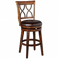 REYDON WOOD SWIVEL BAR STOOL - METAL DOUBLE X BACK- DARK FINISH