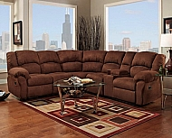 SECTIONAL ARUBA CHOCOLATE 2 RECLINERS & CONSOLE