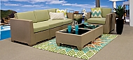 SIMPLICITY PLUS OUTDOOR LIVINGROOM SET - CHAIR, SOFA, 2 TABLES - SOLID COLORS