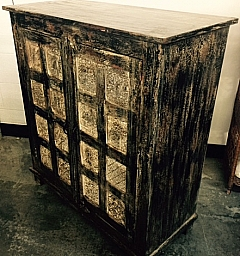 Toulon 2 door Cabinet - Distressed black