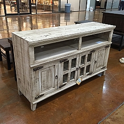 TV STAND- WHITE WASH 4 DOOR