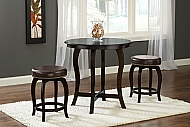 WILMINGTON 3 PIECE COUNTER HEIGHT PUB SET -BROWN VINYL SEAT