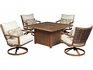 ZORANNE- FIRE PIT CHAT SET INCLUDES FIRE PIT TABLE & 4 SWIVEL LOUNGE CHAIRS
